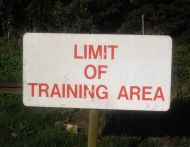 Limit of training area sign.